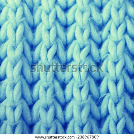 Blue wool knitted texture. may be used as background. square toned image, instagram effect - stock photo