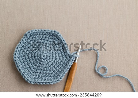 Blue wool with crochet hook - stock photo