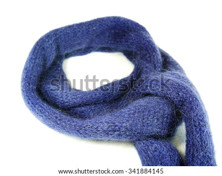 Blue woollen and mohair scarf isolated on white background