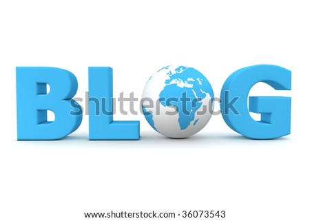 blue word Blog with 3D globe replacing letter O - stock photo