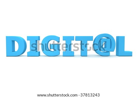blue word Digital - letter A is replaced by the email symbol AT - frontally