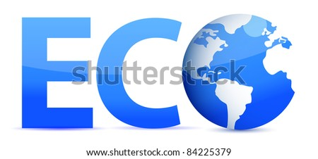 blue word Eco with 3D globe illustration