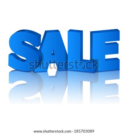 "Blue word ""sale"" with reflection on white background"