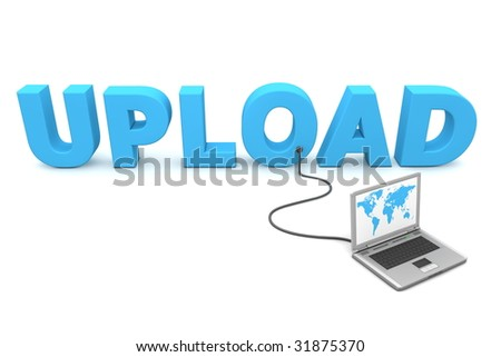 blue word Update connected to a laptop - stock photo