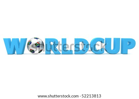 blue word Worldcup with football/soccer ball replacing letter O - south african flag on the ball