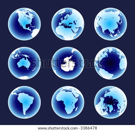 Blue World Continents. Accurate map on a globe. Includes Antarctica, Arctic, Atlantic. Details include small island chains, lakes and seas.