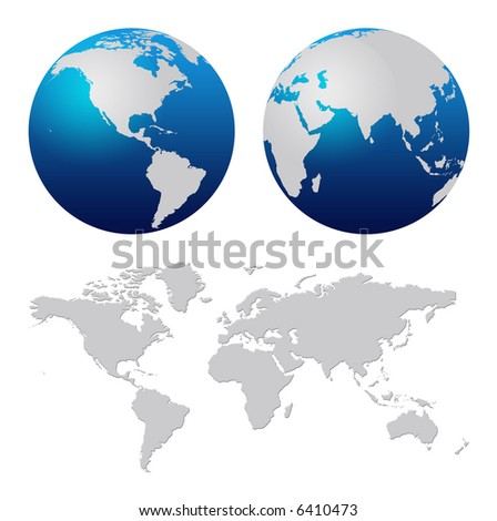 Blue world globe and world map