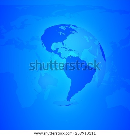 Blue World Globe. North and south America. - stock photo