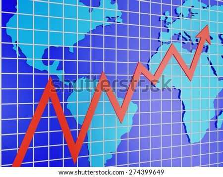 Blue world map and red graph - 3d render - stock photo