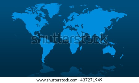 Blue world map blank in flat style