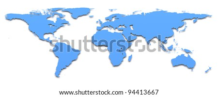 Blue world map. 3d image - stock photo