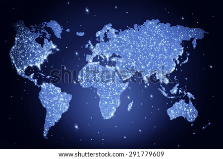 Blue world map in the night with lights - abstract illustration - stock photo