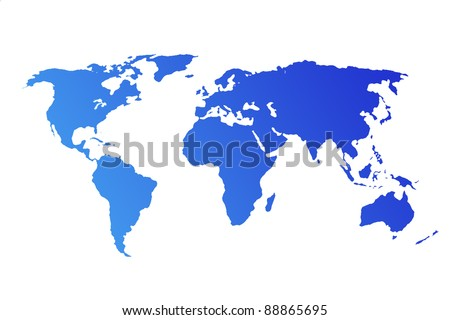 Blue World Map isolated on white background - stock photo