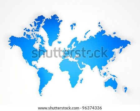 blue world map on a white background - stock photo