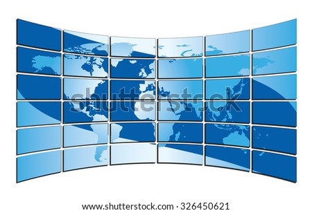 blue world map on the blue screens - stock photo