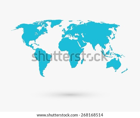 Blue world map shape travel globe stock illustration 268168514 blue world map shape travel globe cartography asia and africa europe gumiabroncs Image collections