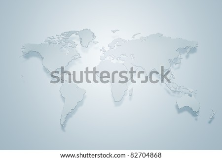 Blue world map silhouette - stock photo