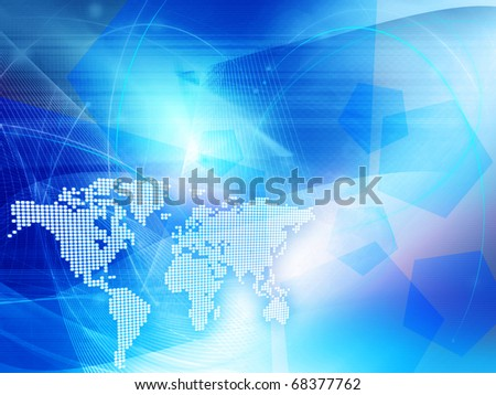 blue world map technology style - perfect background with space - stock photo