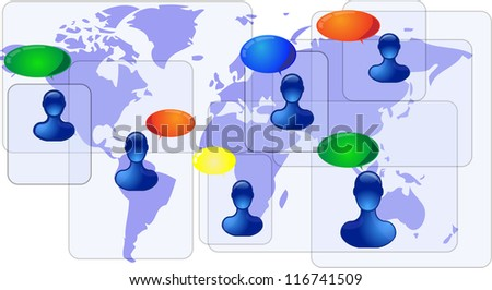 Blue world map with blue people communicating - stock photo