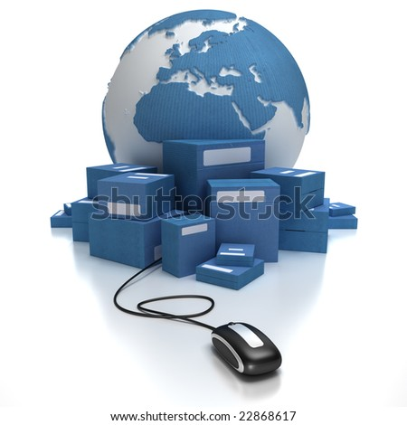 Blue world with a heap of packages connected to a mouse - stock photo
