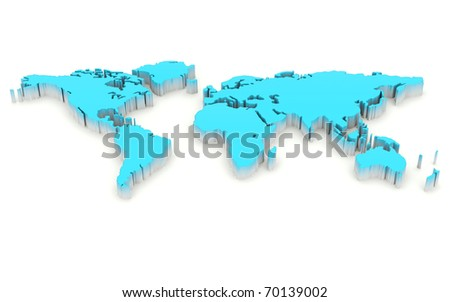 Blue worldmap isolated on white - stock photo