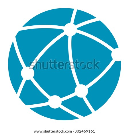 Blue Worldwide, Business Connection, Social Network, Global Communication Infographics Flat Icon, Sign Isolated on White Background  - stock photo