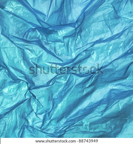 blue wrinkled plastic bag for background - stock photo
