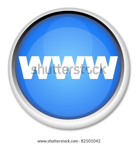 Blue www button isolated on white - stock photo