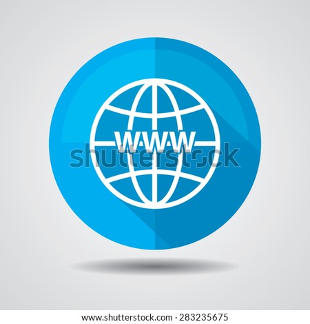 Blue Www icon, Internet sign icon. World wide web symbol on a white background.  - stock photo