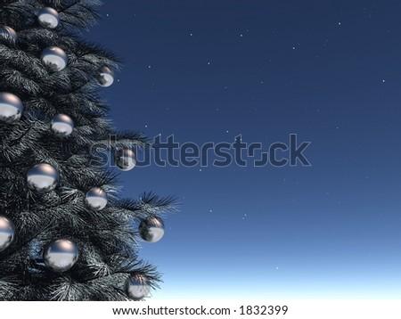 blue Xmas background - stock photo