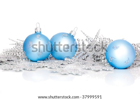 Blue xmas balls and silver decoration - stock photo
