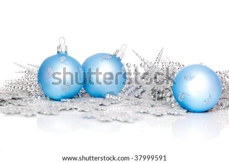 Blue xmas balls and silver decoration - stock photo