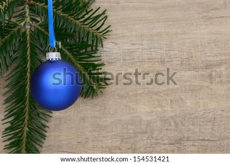 Blue xmas baubles - stock photo