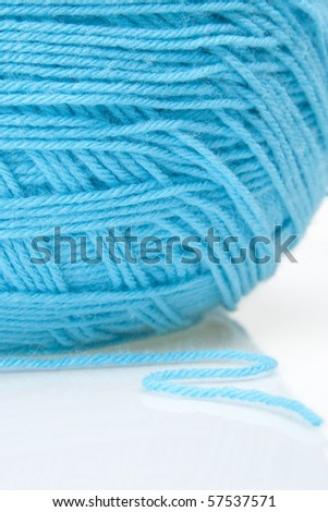 Blue yarn ball - stock photo