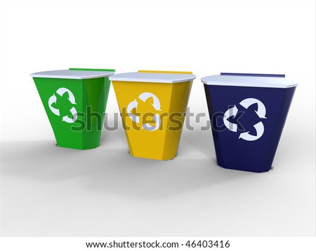 Blue, yellow and Green recycle bins isolated against a white background