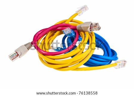 Blue, yellow and pink patch cords with RJ45 plugs isolated over white background. - stock photo
