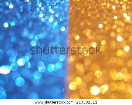 Blue Yellow Lights Backround for Holidays - stock photo
