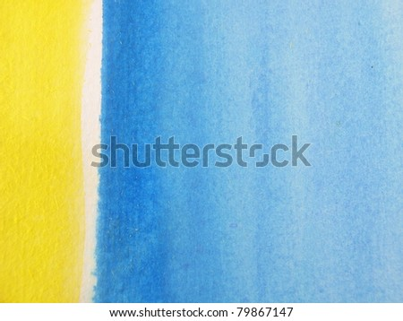 Blue & Yellow Watercolor Background 2 - stock photo