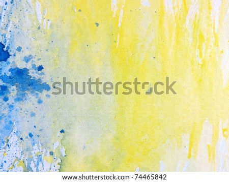 Blue Yellow & White Watercolor Textures 3 - stock photo