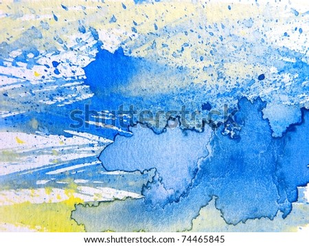 Blue Yellow & White Watercolor Textures 9 - stock photo