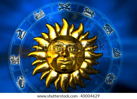 blue zodiac with gold sun like a concept for sun astrology - stock photo