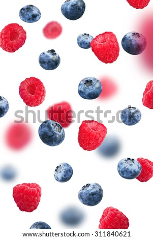 Blueberries and Raspberry, isolated on white background - stock photo