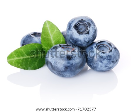 Blueberries and two leaves isolated on white background - stock photo