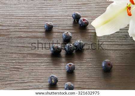 Blueberries closed-up with white lily petal - stock photo