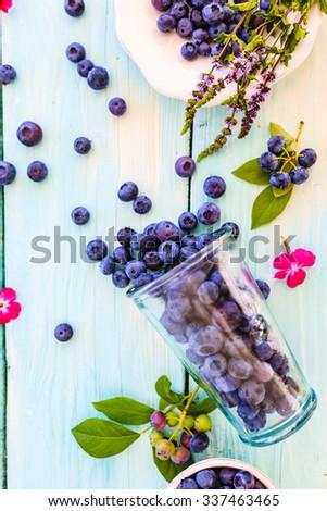 Blueberries, fresh blueberries - stock photo