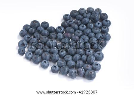 blueberries heart - stock photo