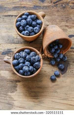 Blueberries in ceramic bowl