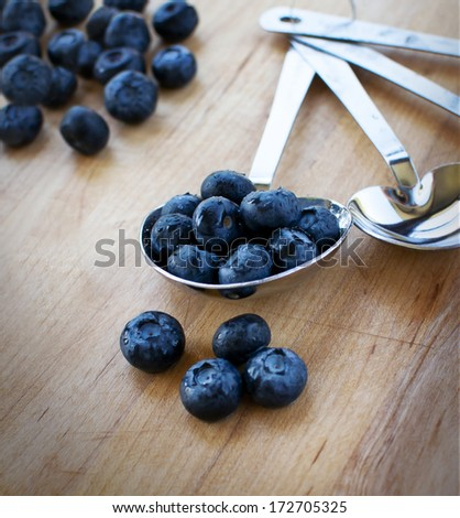 Blueberries in tablespoon