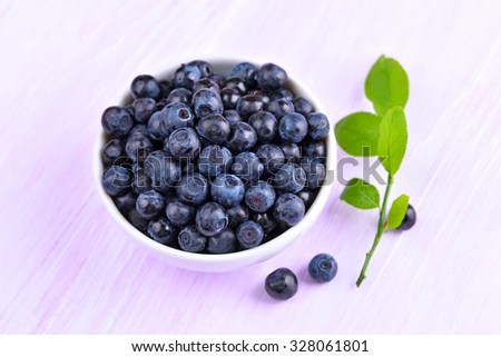 Blueberries in white bowl, close up view