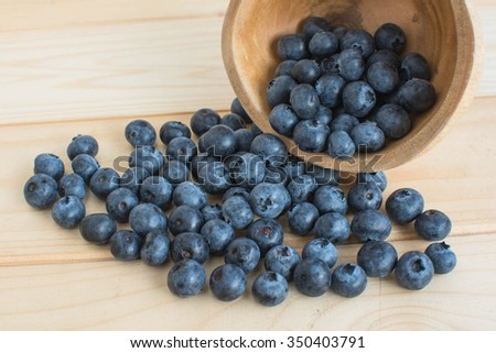 Blueberries in wood table